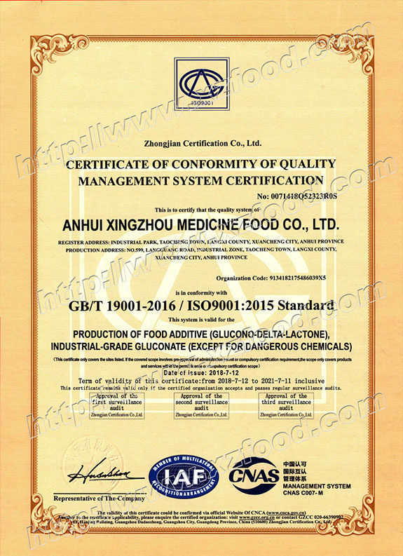 ISO 9001-2016 Quality Management System Certificate - English Version